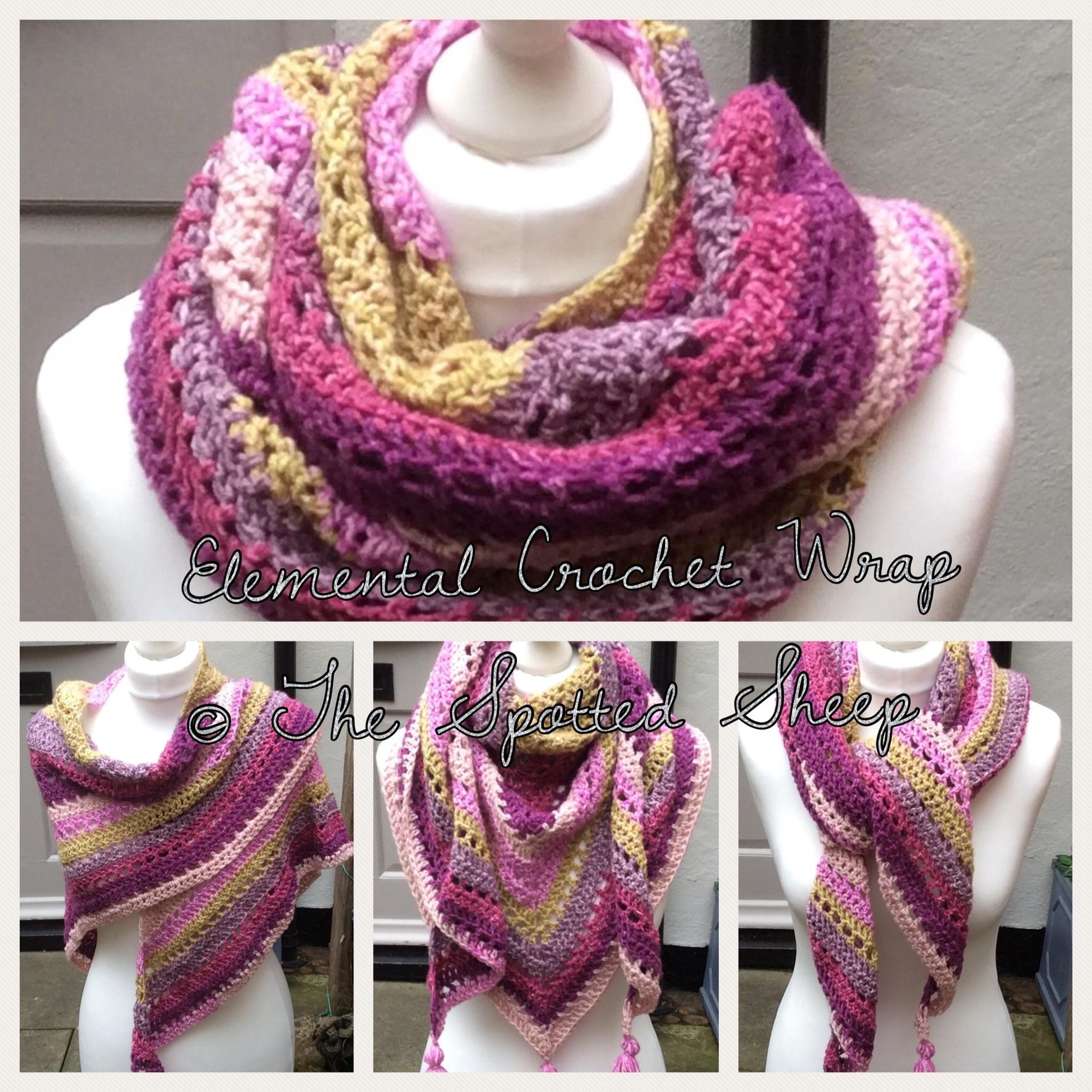 Crochet wrap Stylecraft batik swirl