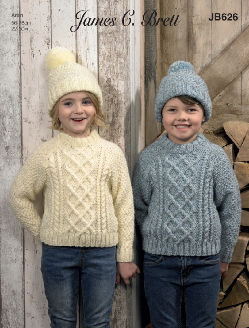 JB626 Child's Aran Sweater and Hat Pattern to fit 22 - 30 ...
