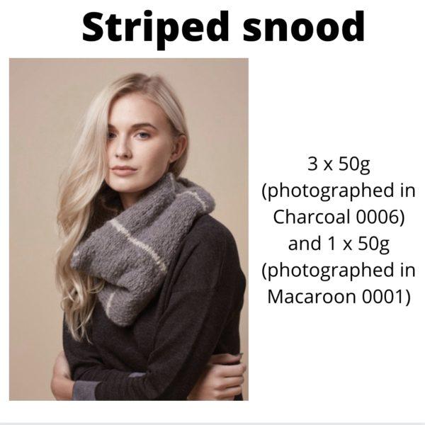 Rowan Cosy Merino - Striped snood in Charcoal and Macaroon