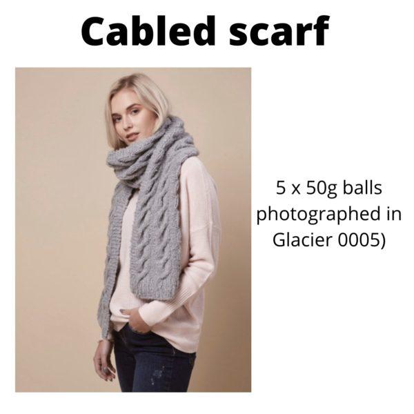 Rowan Cosy Merino - Cabled scarf in Glacier