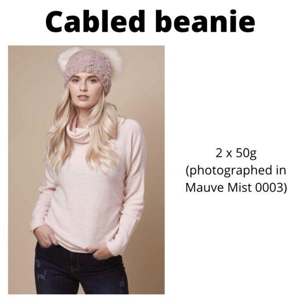 Rowan Cosy Merino - Cabled beanie in Mauve Mist