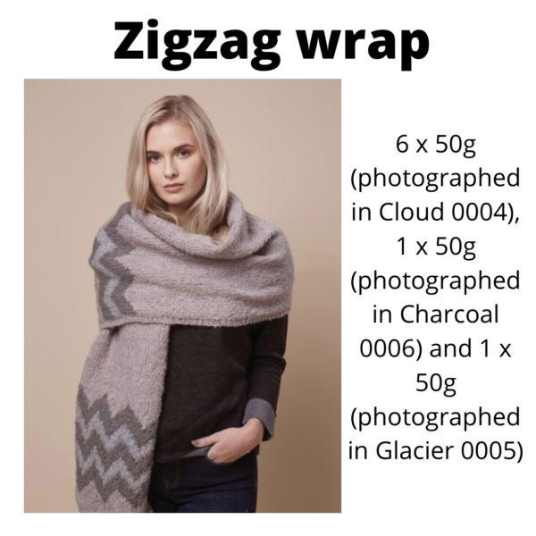 Rowan Cosy Merino - Zigzag wrap in Cloud, Charcoal and Glacier