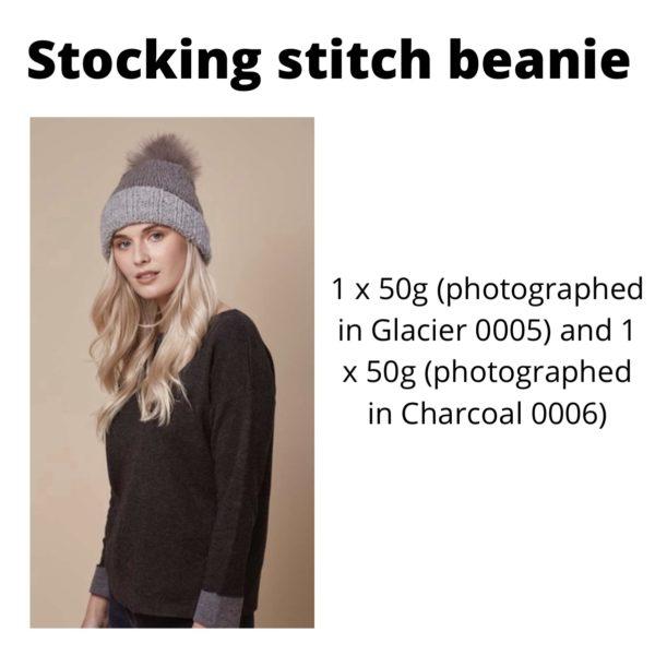 Rowan Cosy Merino - Stocking stitch beanie in Glacier and Charcoal